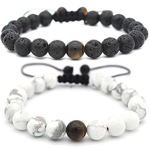 Pusheng Yin Yang Black Lava Bracelet White Turquoise Bead Bracelet for Couple,8mm Set of (Yang Gemstone)