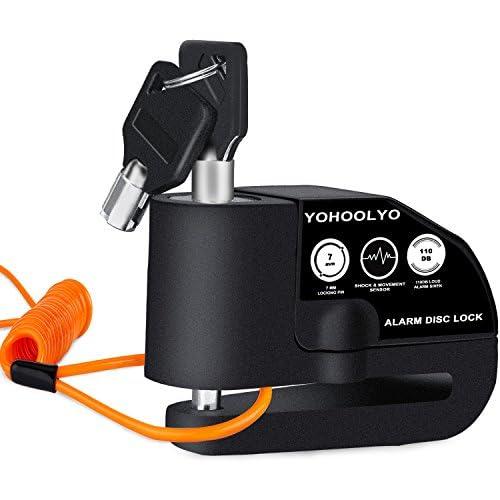 chollos oferta descuentos barato YOHOOLYO Candado Disco Moto con Alarma 7mm 110DB Antirrobo Alarma Moto con Cable Enrollado 1 2 Metros