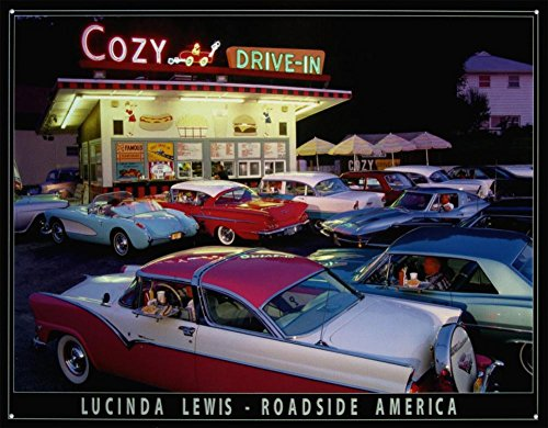 Retro Print Ads - Lucinda Lewis cozy Drive In Diner Roadside America Retro Vintage Tin Sign