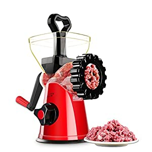 COAWG Manual Meat Grinder, Hand Crank Meat Mincer Sausage Stuffer with 2 Stainless Steel Grinding Plates, Heavy Duty Food Processing Machine with Powerful Suction Base for Meat Vegetables Garlic Burge