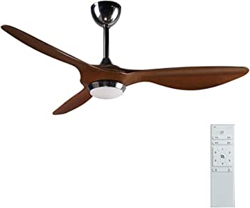 reiga 52-in Ceiling Fan with LED Light Kit Remote Control Modern Blade Noiseless Reversible Motor,6-Speed, 3 Color Temperature Switch (Hand-Painted)