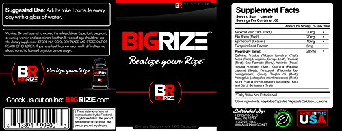 Bigrize Top Rated Male Pills, 60 Capsules Enhance Energy, Mood, Vitality