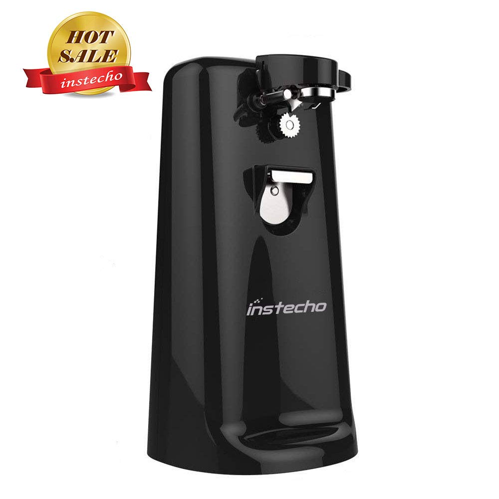 Electric Can Opener, 3 in1 can opener with Knife Sharpener and Bottle Opener, Smooth Edge Heavy Duty Can Opener! Chef's Best Choice(Black)