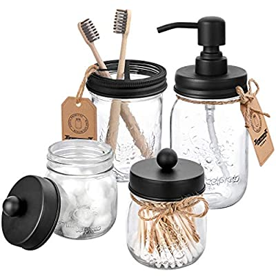 AOZITA Mason Jar Bathroom Accessories Set 4 Pcs - Mason Jar Soap Dispenser & 2 Apothecary Jars & Toothbrush Holder - Rustic Farmhouse Decor Bathroom Countertop, Vanity Organize, Black - ★RUST PROOF STAINLESS STEEL SOAP DISPENSER - 16 oz regular mouth mason jar and stainless steel soap dispenser. Includes durable 304 stainless steel metal pump coupled with coated stainless steel lid preventing rust and corrosion for longevity. Be suitable for dense conditioner, liquid soap, dish soap, lotions and more. ★2 CUTE APOTHECARY JARS - 8oz regular mouth mason jars and heavy duty 304 stainless steel lids. These mason storage Q-tips jars are an attractive way to organize Q-tips, cotton balls, cotton rounds, flossers, or any other bathroom accessories.(Q-tips, cotton balls not include). Easy to store and open. ★MASON JAR TOOTHBRUSH HOLDER - 16 oz wide mouth mason jar and black stainless steel lids with 3 large compartments , fit most sizes of electric toothbrushes, toothbrushes, toothpaste tubes, flossers, razors and more. Made of durable, rust-proof thicker stainless steel, be blunt and safe to use. (Toothbrushes not include) - bathroom-accessory-sets, bathroom-accessories, bathroom - 51LAHvL1b9L. SS400  -