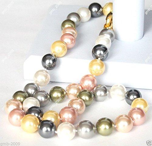 FidgetKute 10mm Multicolor South Sea Shell Pearl Round Gemstone Necklace 18