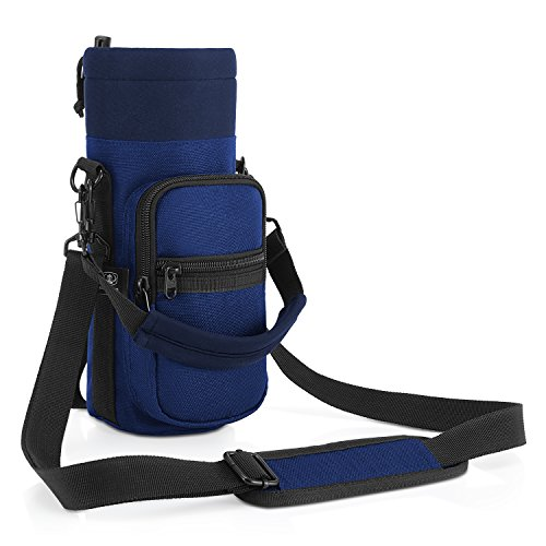 Barbarians Water Bottle Carrier, Bottle Pouch Holder with Adjustable Shoulder/Hand Strap 2 Pockets for Swell Type Bottle 16oz 17oz 20oz 24oz 25oz 32oz 40oz, Suitable for Hiking Travel Camping Blue