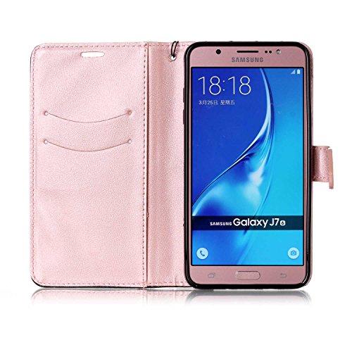 Funda Cover Samsung Galaxy J7 2016,Ukayfe Wallet Case Flip Funda de cuero PU Piel Monedero de Tarjeta Anti-Arañazo y Shock Resistente Protector Bumper Case Cover Accesorio con Colorful Empalme Diseño  Oro rosa