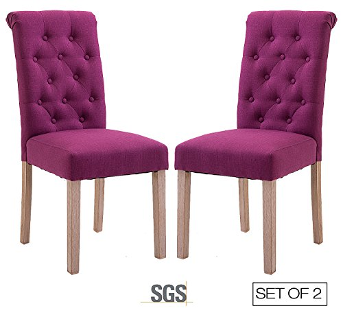 ZXBSWELE Set of 2 Button Tufted Dining Chair with Solid Wood Legs for Dining Room Living Room Purple