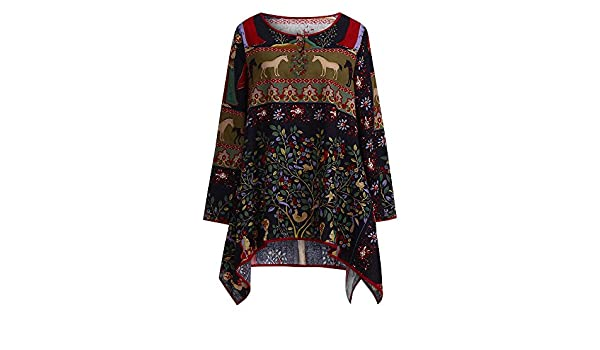 Amazon.com : Clearance!HOSOME Women Top Women Autumn, Winter Vintage Womens Loose Long Sleeve Blouse Casual Print Cotton Linen Tops Shirt : Grocery ...