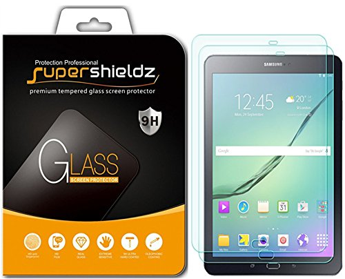 [2-Pack] Supershieldz for Samsung Galaxy Tab S3 9.7 inch Screen Protector, [Tempered Glass] Anti-Scratch, Anti-Fingerprint, Bubble Free, Lifetime Replacement Warranty