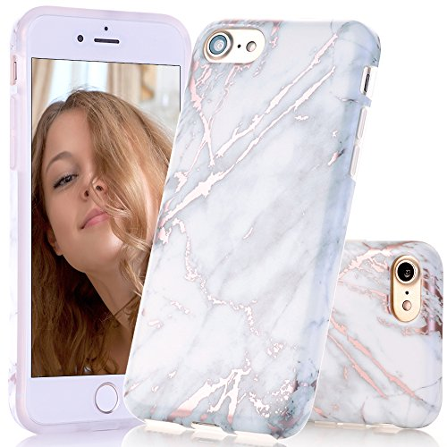 BAISRKE Shiny Rose Gold White Grey Marble Design Clear Bumper Matte TPU Soft Rubber Silicone Cover Phone Case Compatible with iPhone 7 (2016) / iPhone 8 (2017) [4.7 inch]