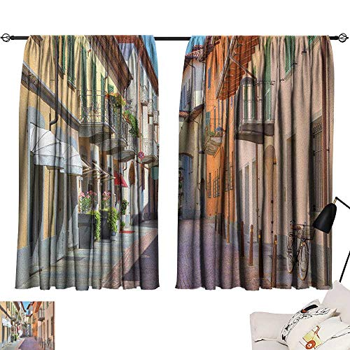 Thermal Insulating Blackout Curtain City,Town of Alba Piedmont Northern Italy Narrow Stone Paved Street Among Colorful Houses, Multicolor 72