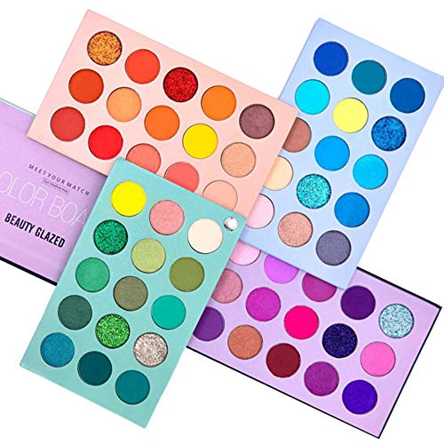 🥇 Beauty Glazed 60 Color Makeup Eyeshadow Palette 4 en 1 Color Board Pressed Glitter Eye Shadow Sombra de cuatro capas May Rotation Matte Pearlescent High Pigmentation Cosmetic Eyeshadow