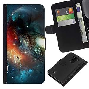 A-type (Planet Space Galaxy Art) Colorida Impresión Funda Cuero Monedero Caja Bolsa Cubierta Caja Piel Card Slots Para LG G3