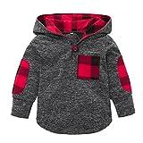 Jarsh Kid Baby Boy Girl Plaid Hoodie Pocket Sweatshirt Pullover Tops Warm Clothes