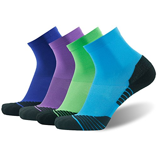 Running Socks for Men HUSO Fashional Arch Compression Support Athletic Quarter Socks 4 Pairs 4pairs-blue&green&royal Blue&purple Large / X-Large