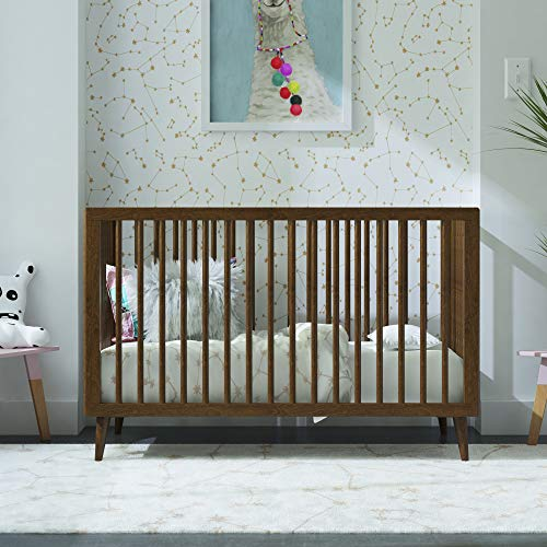 Best Review Of Novogratz Harper 3-in-1 Convertible Baby Crib, Walnut