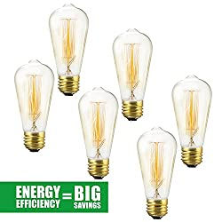 6 Pack Edison Bulb 60 Watt - St64 - Squirrel Cage Filament - Dimmable, Edison Style Vintage Light Bulbs