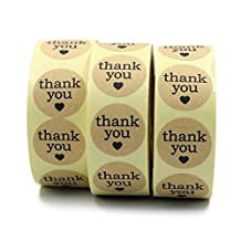 """Md trade 1.5"""" Heart Thank You Stickers Kraft Paper Adhesive Seal Label Sticker,1500 Stickers"""