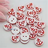 Blanche Lynn Pack of 25 Pcs Round Shape Anchor Pattern Buttons 2 Hole Resin Buttons DIY Elements Clothing Accessories (Color: Red), Organza Bag As a Gift