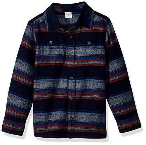 Long Sleeve Flannel Kids (Gymboree Toddler Boys' Long Sleeve Flannel Shirt Multi Stripe, Blue/Orange Stripe, 4T)