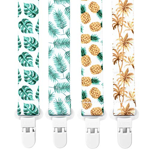 Stadela Baby Pacifier Clip Leash Soothie Teething Ring and Teether Toy Holder Unisex for Girl or Boy 4 Pack Baby Shower Birthday Gift Set Universal Fit Tropical Palm Leaves Trees Pineapples Neutral