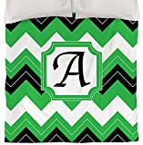 Manual Woodworkers & Weavers Duvet Cover, Queen/Full, Monogrammed Letter A, Black Chevron