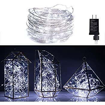 650352a5c03cd Micro 100 Pure White LED Starry Lights Plug In on 32 Ft Long Silver Ultra  Thin