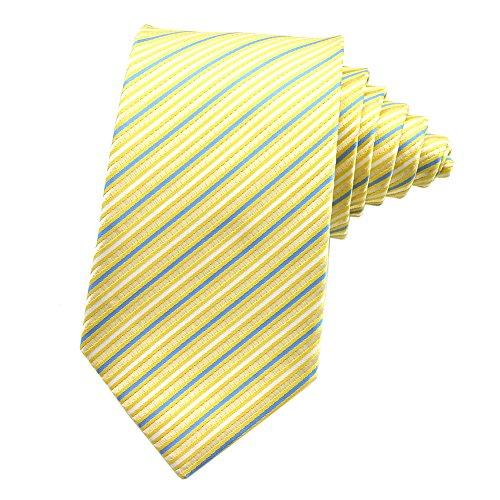 PenSee Mens Tie Jacquard Woven Silk Stripes Necktie -Various Colors (White & Blue & ()
