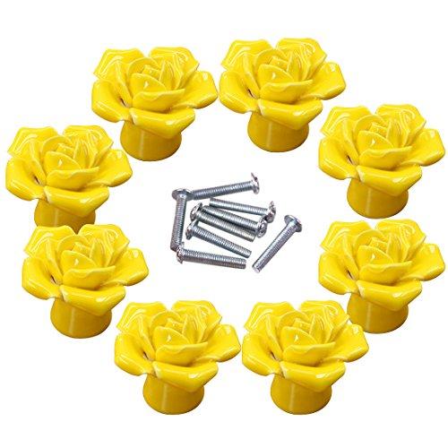 Knobs, WOLFBUSH 8Pcs Elegant Yellow Rose Pulls Flower Ceramic Cabinet Knobs Cupboard Drawer Pull Handles - Flower Cabinet Drawer Pull