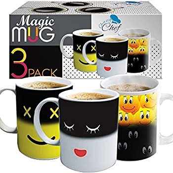 Heat Sensitive Coffee Magic Mugs   Set Of Color Cute Coffee Tea Unique  Changing Heat Cup 12 Oz White U0026 Yellow Happy Face And Smiley Emots Design  Drinkware ...