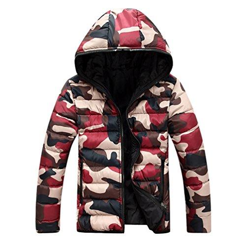 Jacket Down Giacca Yilianda Uomo Puffer Rosso Antivento Lunga Cappuccio Manica pPfZ5qxn