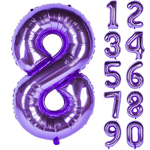 New 40 Inch Purple Digit Helium Foil Birthday Party Balloons Number 8