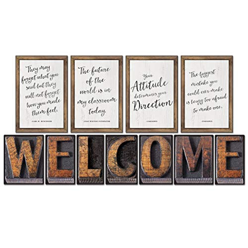 Schoolgirl Style Industrial Chic Bulletin Board Set, Welcome (110401)]()