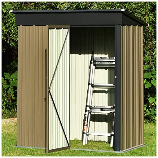 Garden and Outdoor 5′ x 3′ Outdoor Metal Storage Shed, Steel Utility Tool Storage House with Door & Lock, for Backyard Garden Patio Lawn outdoor storage sheds