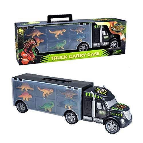 MegaToyBrand Dinosaurs Transport Car Carrier Truck Toy with Dinosaur Toys Inside - Best Megatoybrand dinosaur kids toy for ages 3 - 8 yr old from ToyVelt
