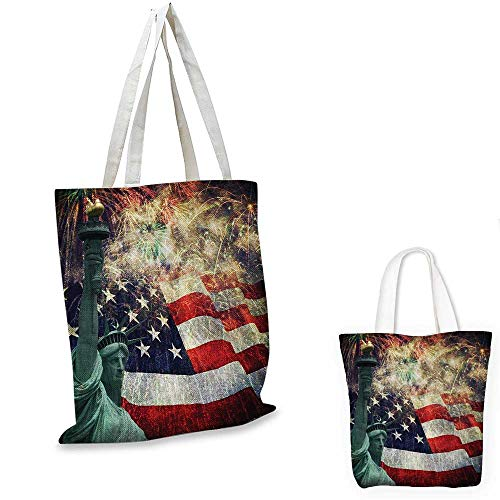 American Flag shopping tote bag Composite Photo of States Idols with Fireworks on Background 4th of July travel shopping bag Multicolor. 16