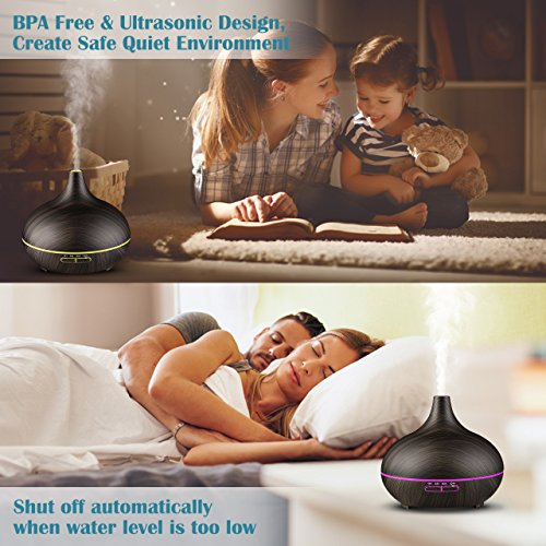 VicTsing 300ml Essential Oil Diffuser, Wood Grain Ultrasonic Aroma Cool Mist Humidifier for Office Home Bedroom Baby Room Study Yoga Spa(Deep Brown) by VicTsing (Image #5)