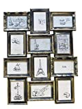 "7 space 4by6 frame - Azzure Home ""Parisian"" 12 Openings Decorative Wall Hanging Collage Picture Frame - Made to Display Six 5x7 and Six 4x6 Photos, Black"