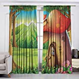 Best Daisy Weed Killers - VIVIDX Decor Curtains,Mushroom,Shroom House Land Mountain Daisies Weeds Review
