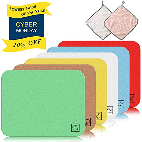 CYKELAR Six Colors Coded Flexible Plastic Cutting Board Mats for Kitchen with 2 Packs Hanging Hand Towels, Thin Yet Large with Food Icons - 12x15'' - FDA APPROVED