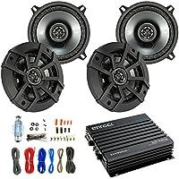 Car Speaker And Amp Combo: 4x Kicker 43CSC5 450-Watt 5-1/4 Inch CS Series 2-Way Black Car Coaxial Speakers - Bundle With 400-Watts 4-Channel Bluetooth Amplifier + 8-Gauge Amp Install Wiring Kit