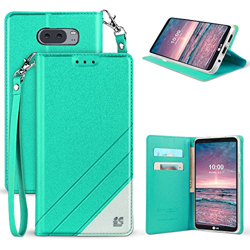 Band Flip Face Wrist Watch (LG V30 Case, Mstechcorp [Kickstand] [Card Slot] PU Leather Folio Flip Wallet Case Cover With Wrist Strap For LG V30 (Teal White))