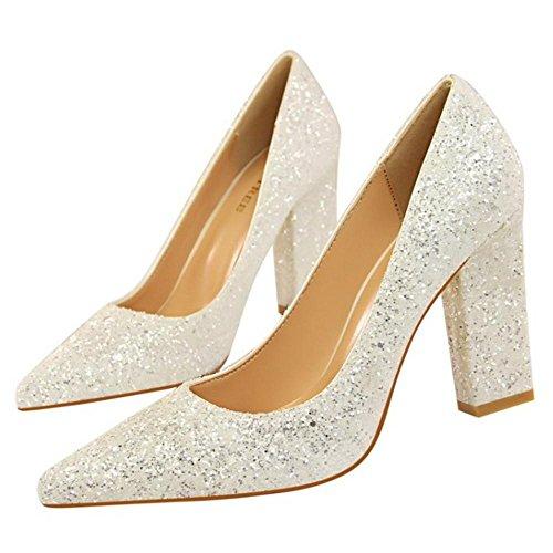 de Zapatos Mujer Ancho Tacon para Alto White RAZAMAZA gPqU857