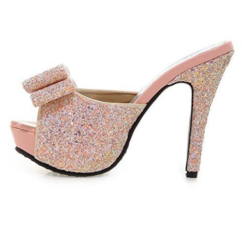 W&LM Sra Tacones altos De acuerdo Ultra Tacones altos Plataforma a prueba de agua Es bueno Boca rasa Zapato Zapatos individuales Black