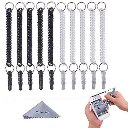 Wisdompro Stylus Tether, 10 Pack of Detachable Elastic Coil Tether Strings/Lanyards with 3.5mm earphone jack for Stylus Pens - Black/Clear