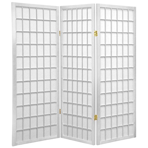 Oriental Furniture 4 ft. Tall Window Pane Shoji Screen - White - 3 Panels