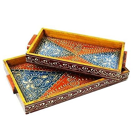 Amazon Com Indian Handicrafts Export Wooden Tray Set Of 2 Home