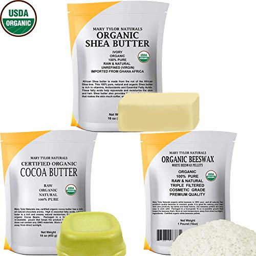 Certified Organic Shea Butter 1 lb + Certified Organic Cocoa Butter 1 lb + Certified Organic White Beeswax Pellets 1 lb - Set, Amazing Skin Nourishment, Great for DIY Projects, Eczema, Stretch Marks,