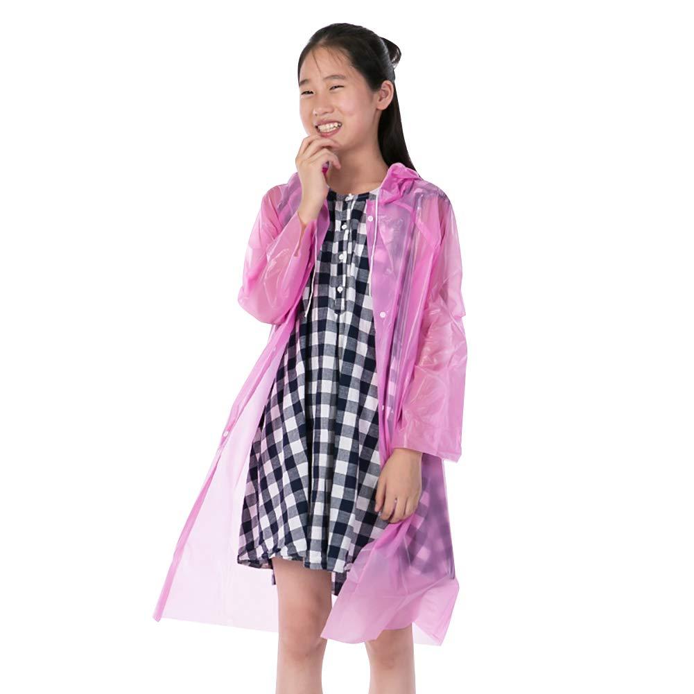 BLagenertJ Kids Hooded Raincoat Button Rain Poncho Disposable Waterproof Outdoor Pink